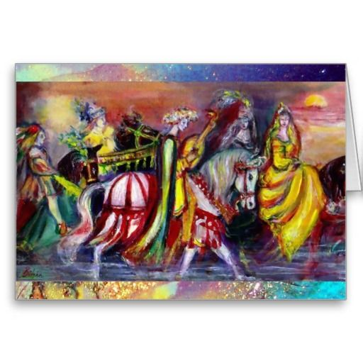 Riders in the Night  Greeting Card by Bulgan Lumini . Magic colorful musical nocturne,moon,faeries,horses in vibrant colors .Acrylic painting  on canvas, mixed media painting with golden and silver foil .