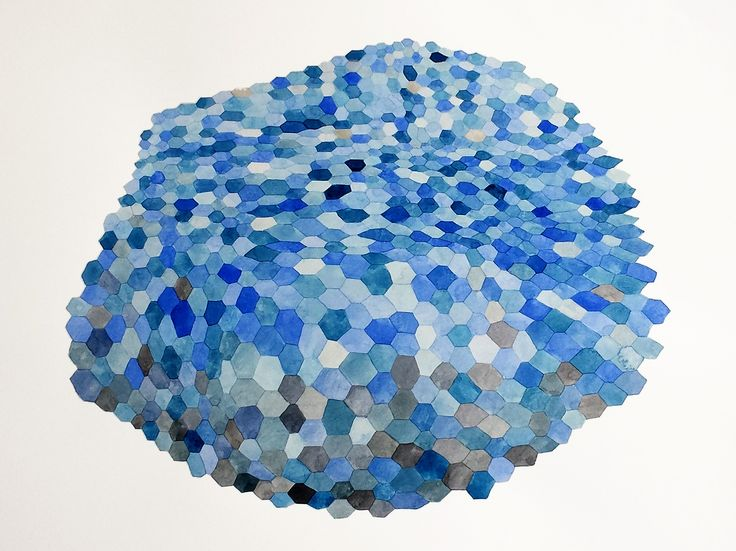 Overcast by Ngaio Rue Blackwood, 2015. Watercolour on paper. Geometric hexagon abstraction