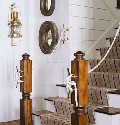 nautical: Ideas, Beach House, Stairs, Nautical Decor, Staircase, House Idea, Beachhouse