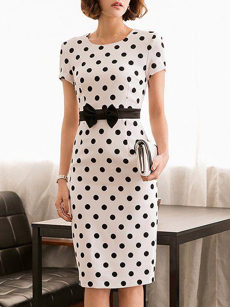 Sheath Short Sleeve Vintage Bow Polka Dots Midi Dress 11