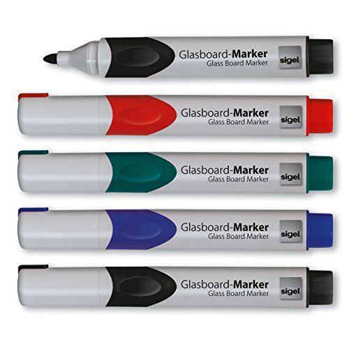 Sigel GL711 Lot de 5 Marqueurs pour tableaux en verre – tableaux blancs, pointe arrondie de 2-3 mm – effaçables – 4 couleurs…