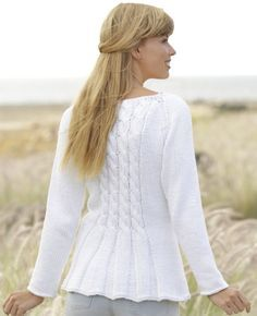 Romantic Twist Free Cable and Peplum Cardigan Knit Pattern. Size: S - M - L - XL - XXL - XXXL Materials: DROPS PARIS from Garnstudio 550-600-650-700-800-850 g color no 16, white Free Pattern