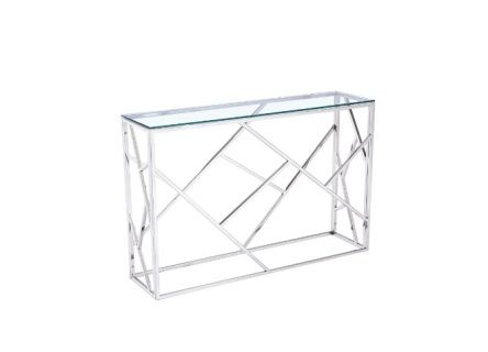 The Carole Console Table is made of tempered glass top with stainless steel frame.                       Size: 115x30x78 cm  (45.3x11.8x30.7 inches)  Contact us for pricing