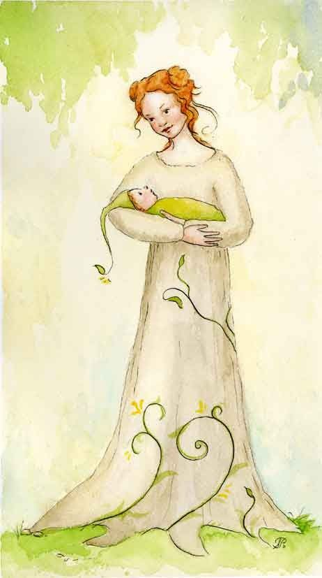 Little Sprout Original Watercolor Illustration (etsy) I'd love this. Framed. In the bedroom.
