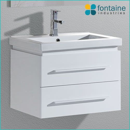 $255.00 Modena 600 | Fontaine Industries. Installed Size: 600mmW x 460mmD x 570mmH. **Mounted/floating vanity to create illusion of more space**Soft closing drawers**
