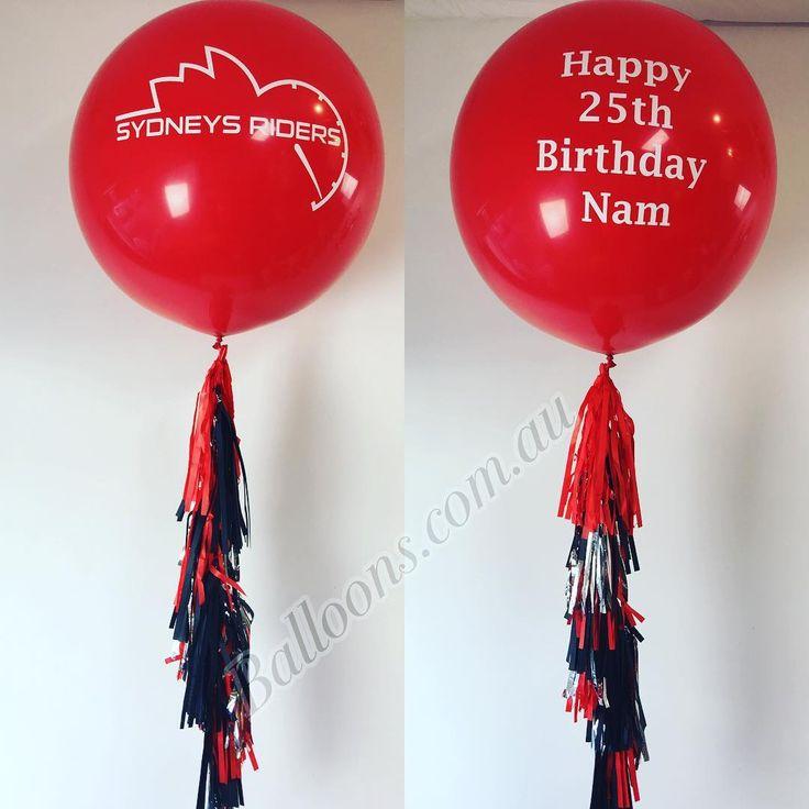 Custom vinyl printing onto 3ft balloons with lovely hand made tassels. www.balloons.com.au