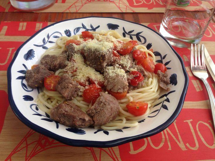 Pasta con filete salteado y tomates cherry #MiNoviaEsUnaMasterChef