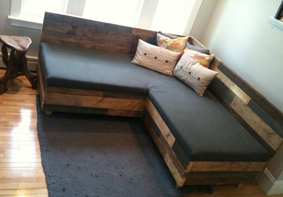 Reclaimed lumber industrial modern sofa by hammersheels on Etsy, $1795.00