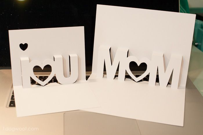 Mom I Love You Pop Up Cards With Free Silhouette Cut