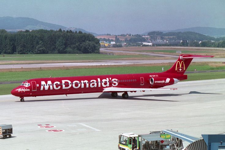 "https://flic.kr/p/D6cpde | Crossair McDonnell Douglas MD-83 (DC-9-83) HB-IUH ""McDonald's"" livery | Zürich (- Kloten) (ZRH / LSZH) Switzerland 7.1999"