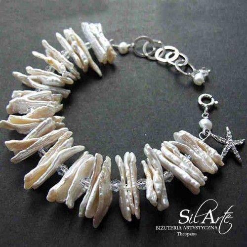 Madame Aliora ślubna bransoleta z pereł - Biżuteria ślubna - Biżuteria srebrna