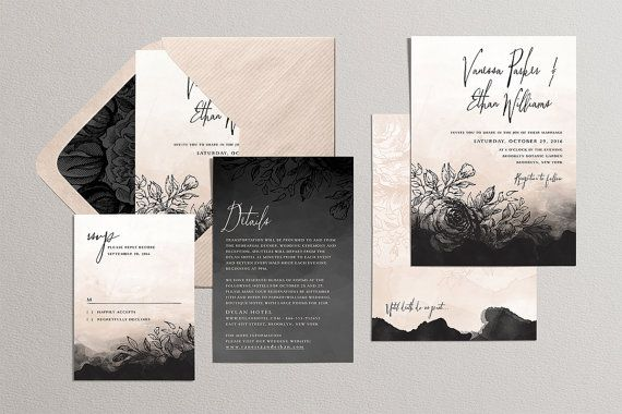 Gothic Wedding Invitation Set,Printable Romantic Wedding Suite, Halloween Theme Invite, Vintage Dark Roses, Nude Charcoal Black, Digital DIY