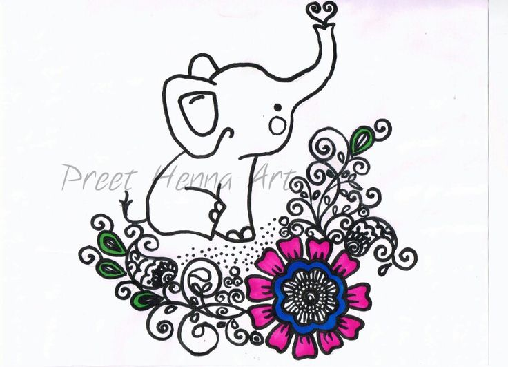 Cute Elephant And Henna Design