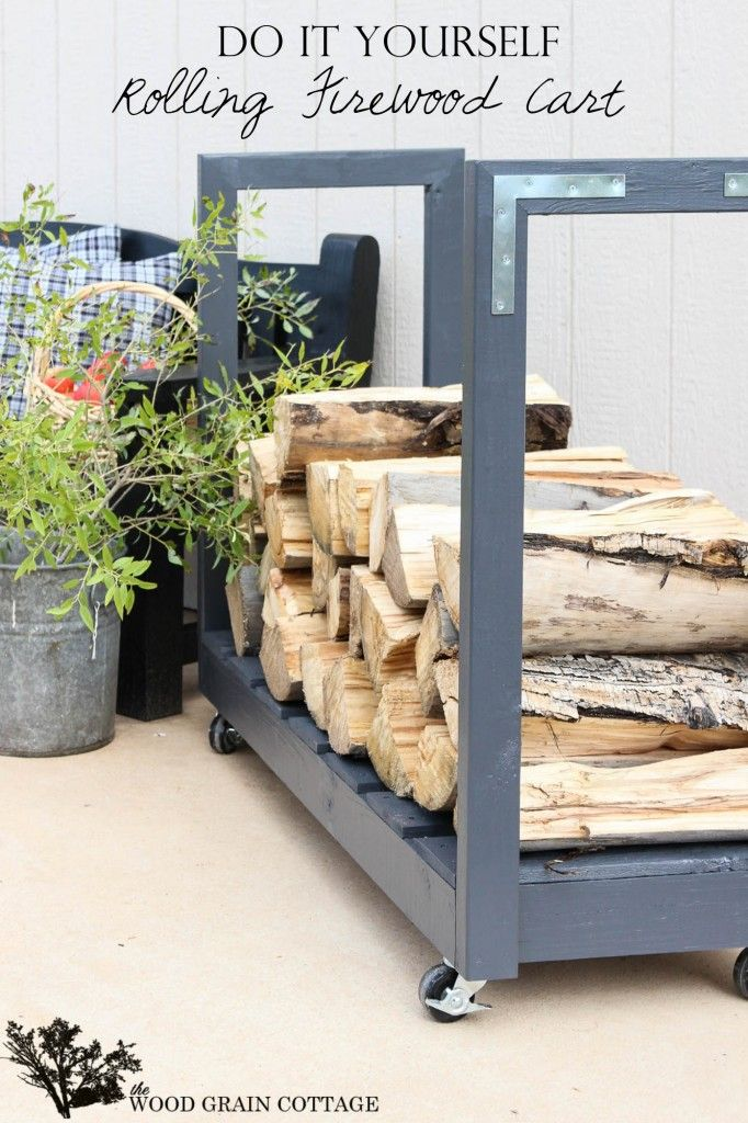 DIY Rolling Firewood Cart - Outdoor Fall Winter Storage Solution! from The Wood Grain Cottage