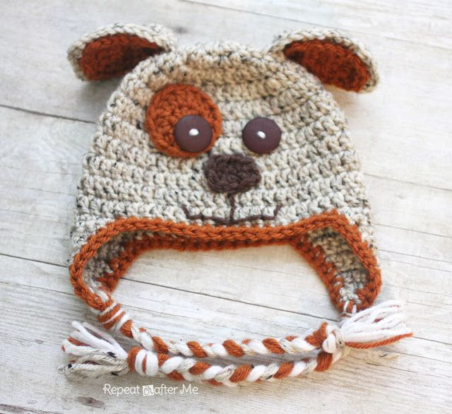 Free Crochet Puppy Hat Pattern  from repeat crafter