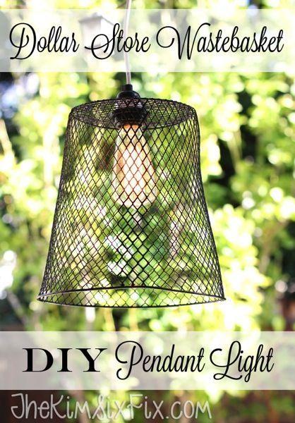 Dollar store wastebasket DIY pendant light
