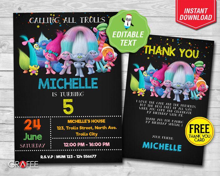 Trolls Birthday Invitation - EDITABLE TEXT - Trolls Party, Trolls Dance 5 x7 Card, Trolls Birthday Printable invitation - FREE Thank Card by GrafeePrintables on Etsy