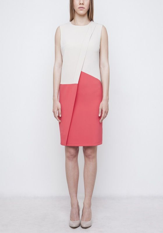 Image of Beige Colorblock Dress