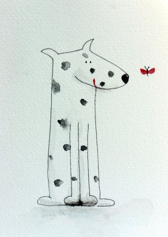 Pepper - spotted dog with butterfly, dalmation, whimsical, watercolor, small art, simple, pen and ink