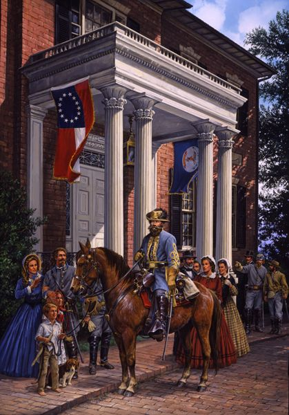 BOLD CAVALIERWhen General J.E.B Stuart rode to Capitol Square on June 16, 1862 to observe a military drill, he was already a hero to the citizens of Virginia. Arriving at the Governor's Mansion, members of the military and passersby instantly recognized him.