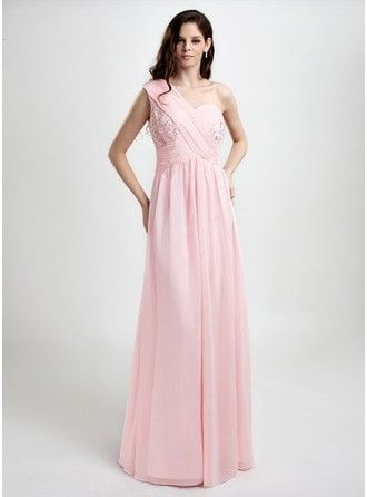 A-Line Princess One Shoulder Floor Length Chiffon Prom Dress With Ruffle Beading 018015849 g15849