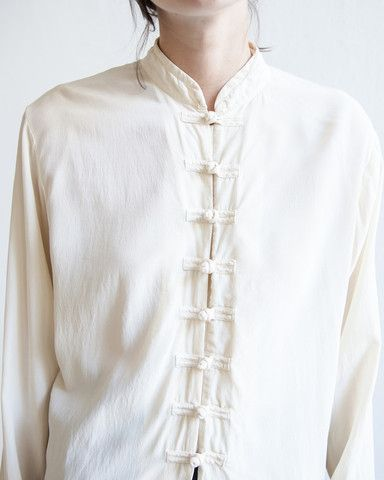 silk mandarin collar blouse                                                                                                                                                      More