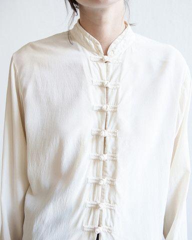 silk mandarin collar blouse