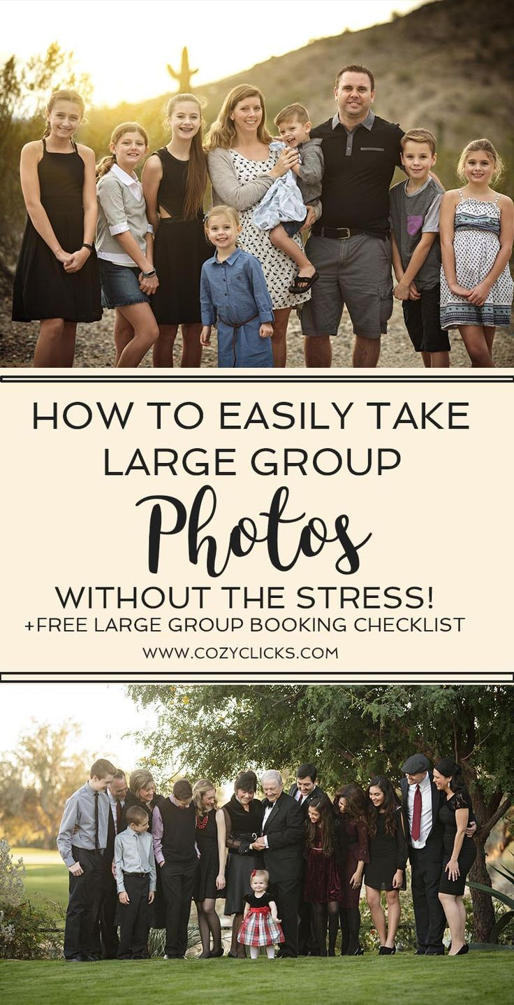 Looking for photography tips on how to take photos of large group?  Learn how to take pictures of large families without the stress!  Take large group portraits easily with these photography tips!