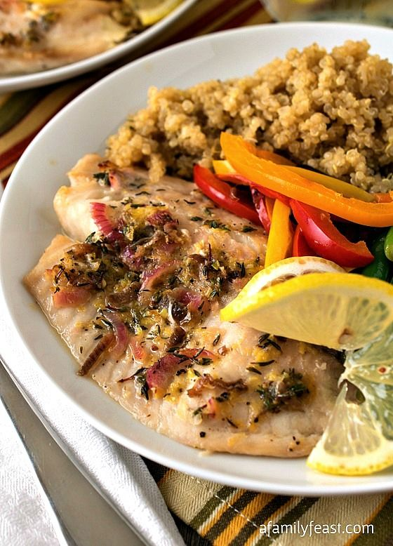 Baked Tilapia with Quinoa and Garlicky Green Beans | www.afamilyfeast.com | #SimpleStart #WeightWatchers - A delicious, flavorful meal that is so good - even if you aren't on Weight Watchers you will love this recipe!