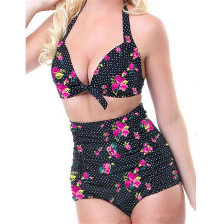 2016 Push up Cintura Alta traje de Baño 4XL XXXL XXL de Las Mujeres Traje de baño de La Vendimia Bikini set Ropa de Playa Retro Más El Tamaño de trajes de Baño 3XL