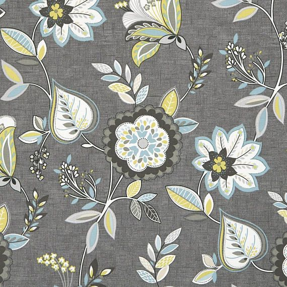 Aqua Grey Floral Upholstery Fabric Yellow Grey Floral Cotton