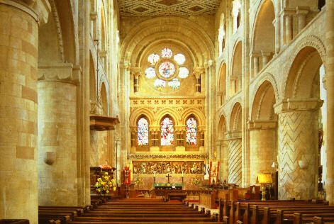 Photograph of the interior of Waltham Abbey Church, viewed from the west end.