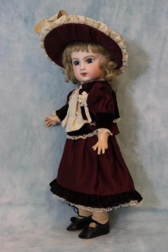 """Antique 13.5"""" EJ Jumeau French Bisque Doll Beautiful Costume c.1886 Blue Pwights"""
