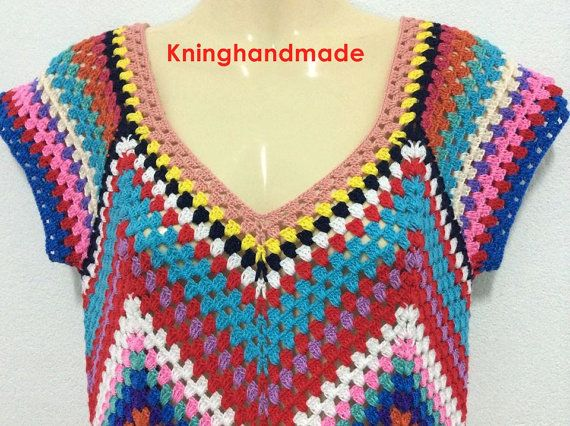 Boho jurk, zomer gehaakte jurk/Multicolor gehaakte jurk, lente, vrouwen kleren / No.CB-56