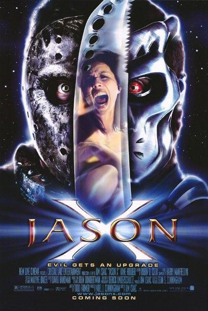 Jason X , starring Kane Hodder, Lexa Doig, Jeff Geddis, David Cronenberg. Jason Voorhees returns with a new look, a new machete, and his same murderous attitude as he is awakened on a spaceship in the 25th century. #Horror #Sci-Fi #Thriller