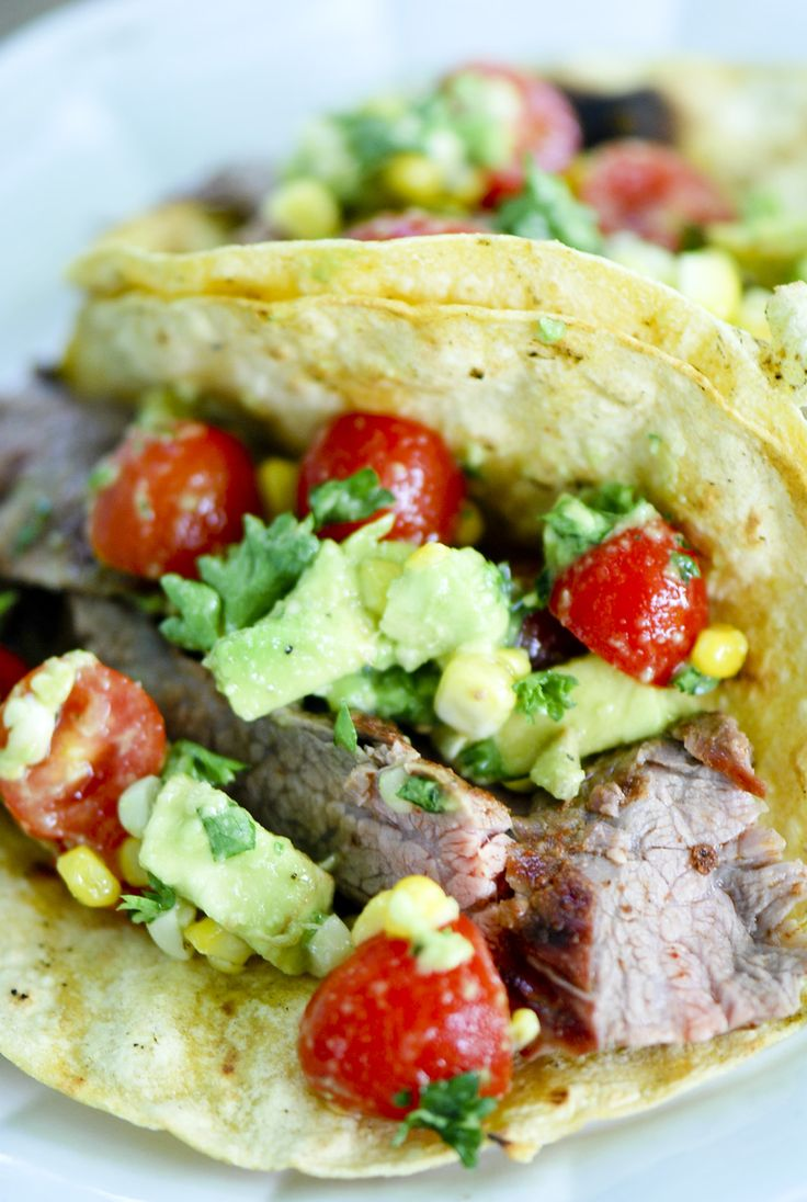 Steak Tacos with Corn, Avocado and Tomato Salad