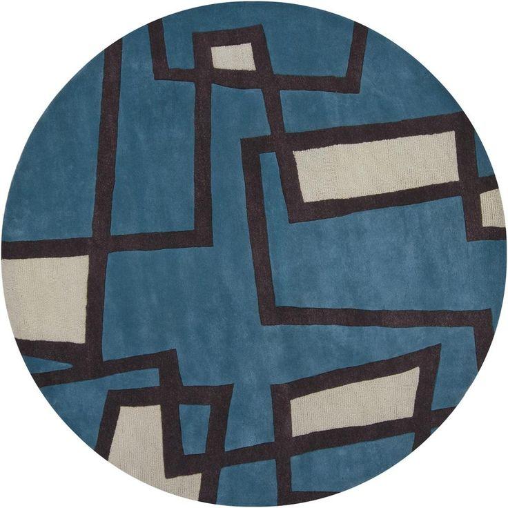 loom handtufted geometric wool rug 7u00279 round by loom - Colorful Area Rugs