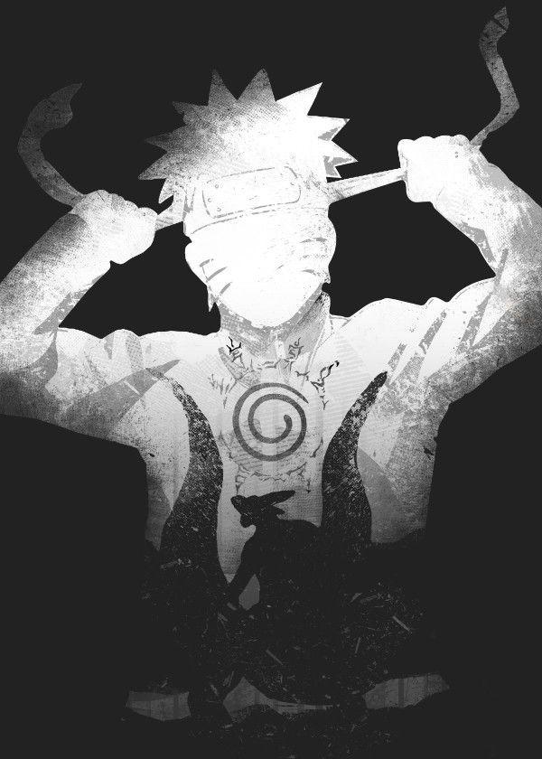Displate Poster Monochrome Ninja Naruto Shippuden Anime Manga White Black Naruto Art Wallpaper Naruto Shippuden Naruto Shippuden Anime