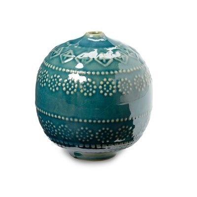 Textured Sphere Bud Vase - Teal