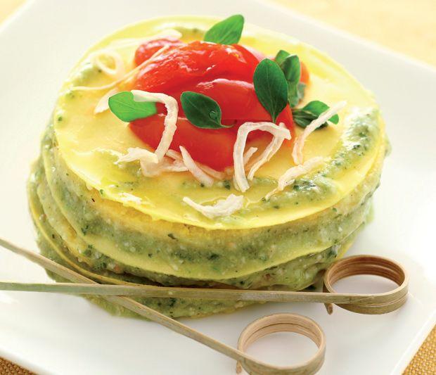 Ricetta Lasagna al pesto e bagna cauda. Tra Piemonte e Liguria. con Pomodorini Cirio e Olio Extravergine Classico Cirio