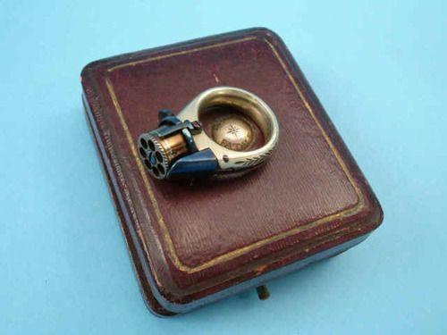 "Rare and unusual ""Femme Fatale"" ring pistol, originates from France, third quarter of the 19th century."