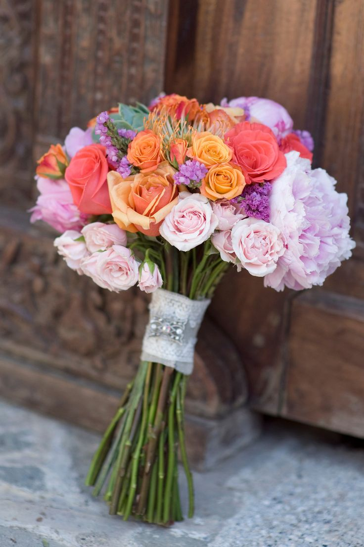 Mixed Rose Bouquet - See more of the wedding on SMP, here: http://www.StyleMePretty.com/destination-weddings/2014/05/28/beach-chic-punta-mita-wedding-at-casa-amore/ Photography: KLKPhotography.com
