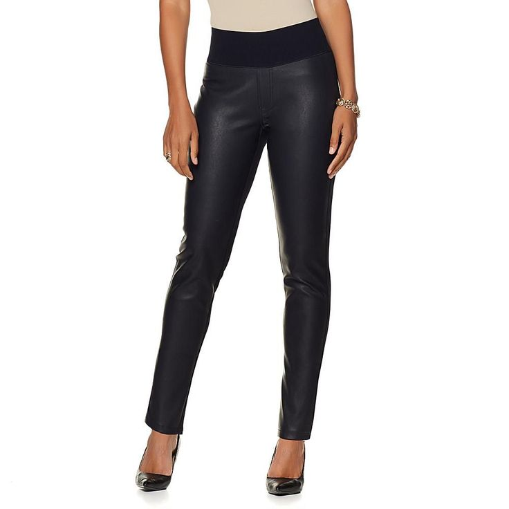 DG2 by Diane Gilman Ponte and Faux Leather Jegging - Blue
