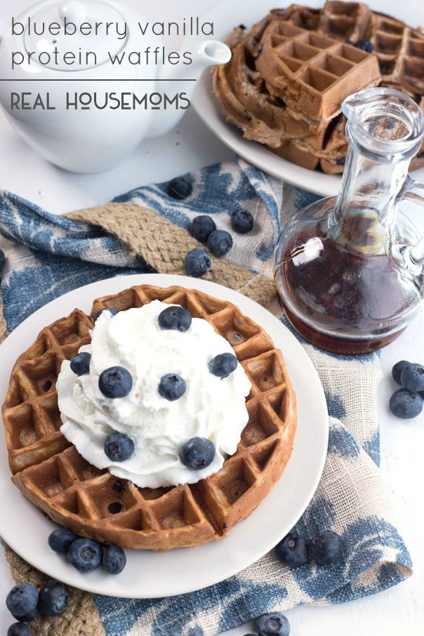 Classic blueberry waffles with a protein boost twist! These Blueberry Vanilla Protein Waffles are the perfect way to start a day!