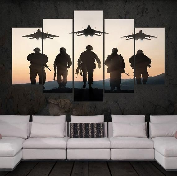 Military Armed Forces Framed Or Unframed 5 Piece Five Panel Etsy Canvas Art Wall Decor Customized Canvas Art Wall Art Pictures