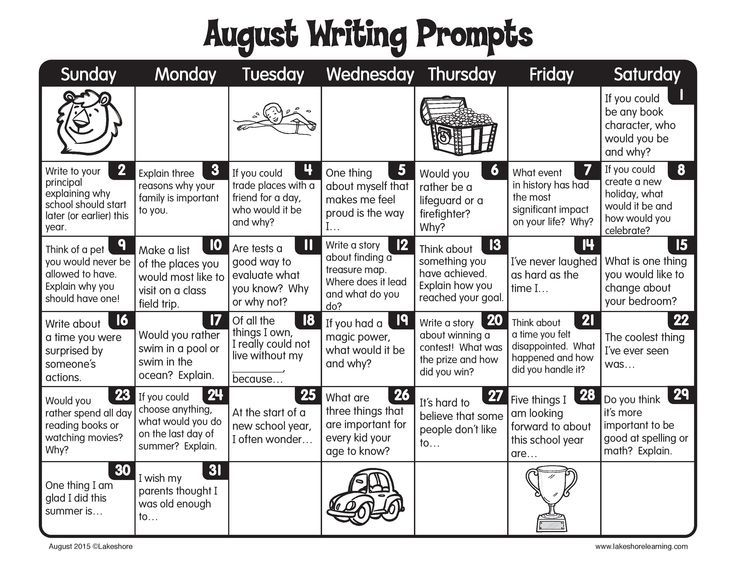 Our August writing prompts are filled with lots of fun ideas that'll keep kids writing through the summer!
