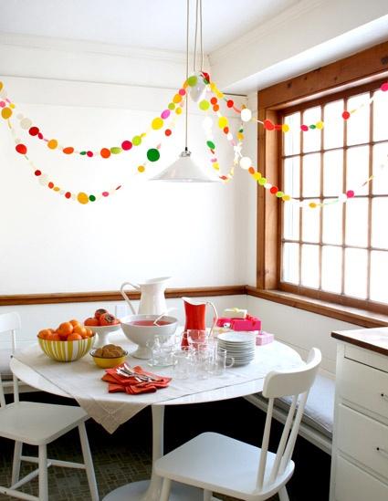 Add a garland for instant fun #designeveryday: Paper Garlands, Polka Dots, Circles Garlands, Decoration, Parties Garlands, Parties Ideas, Diy, Felt Garlands, New Years