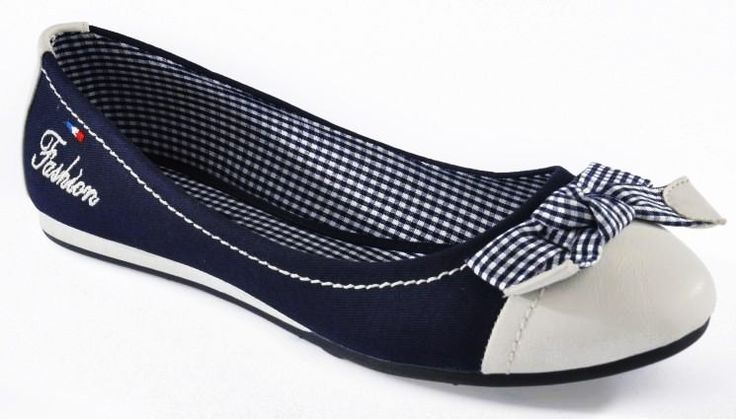 Balerinki HOT Marynarskie BIEL i GRANAT navy 39