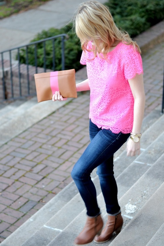 Hot pink top, although not the overwhelming hot pink most wear