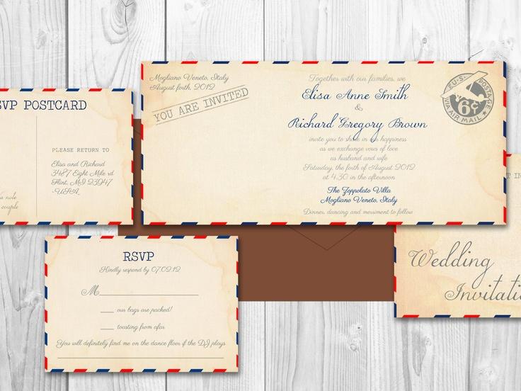 AIRMAIL WEDDING Invitations VINTAGE Printable Diy - Philadelhia Suite. $25.00, via Etsy....etsy store with lots of wedding invites